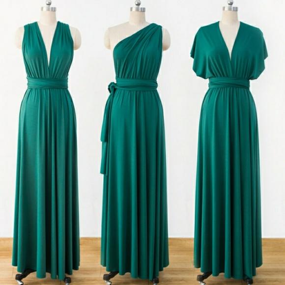 Chiffon Infinity Dress: Maxi Infinity Dress Emerald Green
